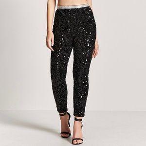Velvet Faux Gem & Rhinestone Sequin Pants:L